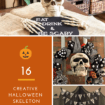 collage of Halloween skeleton decorations