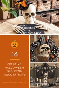 collage of Halloween skeleton decorations