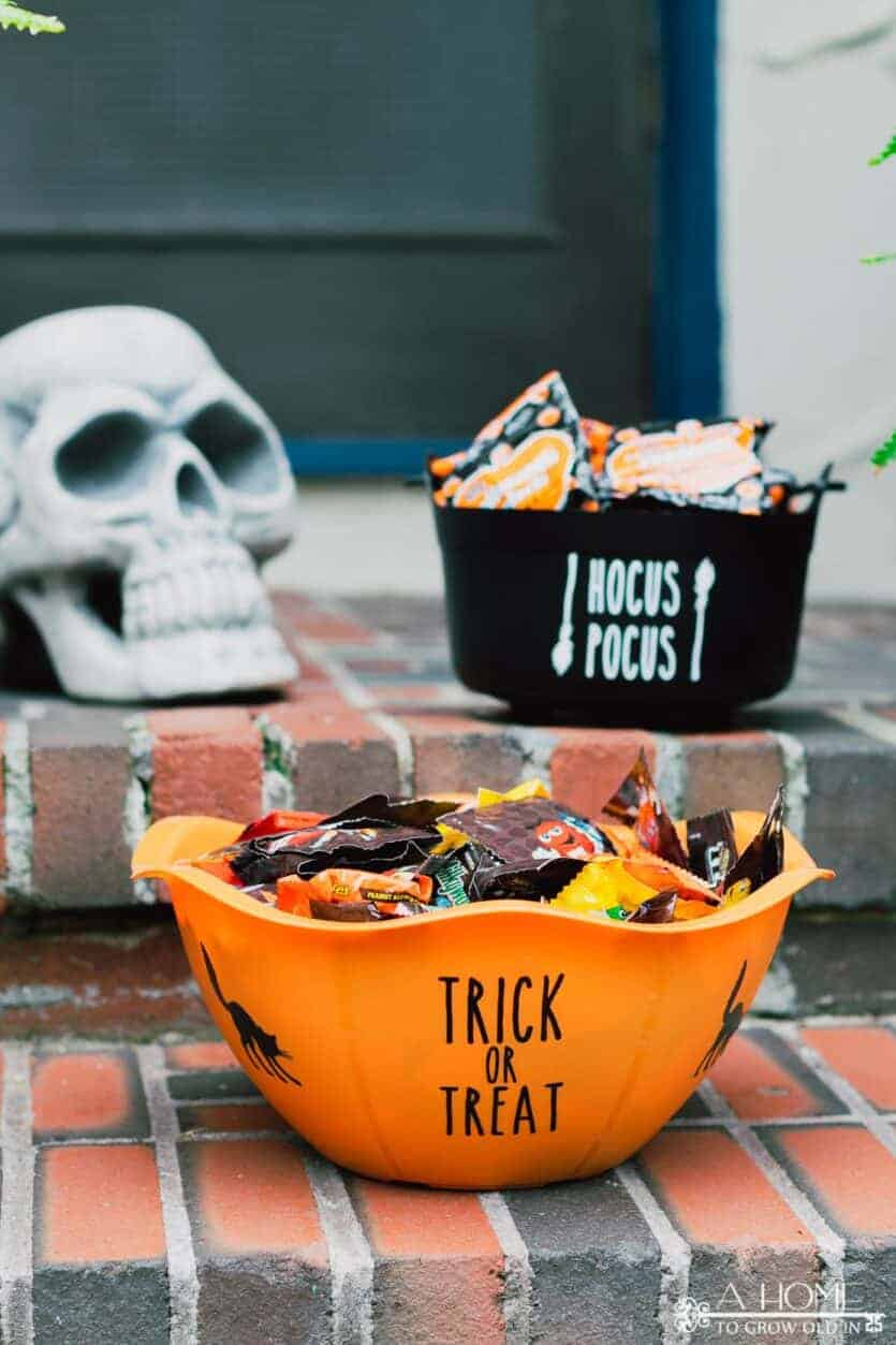 close up of Halloween trick or treat candy bowl filled with candy