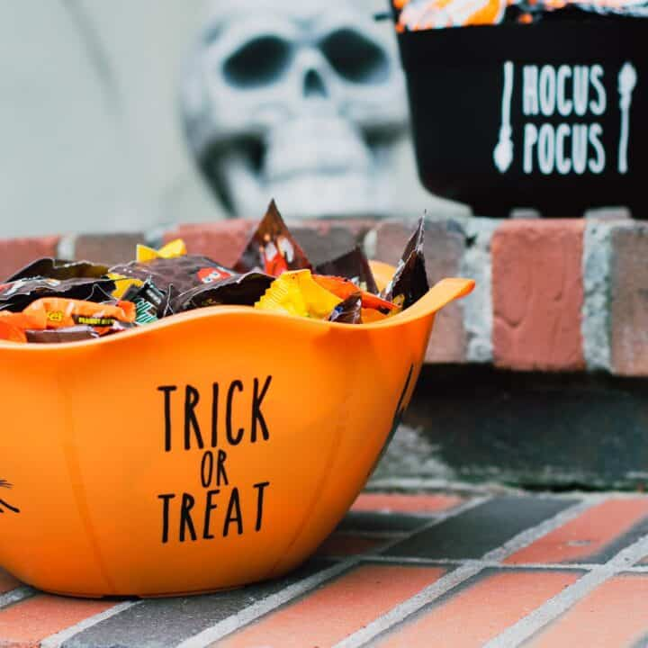 Halloween candy bowl filled with candy