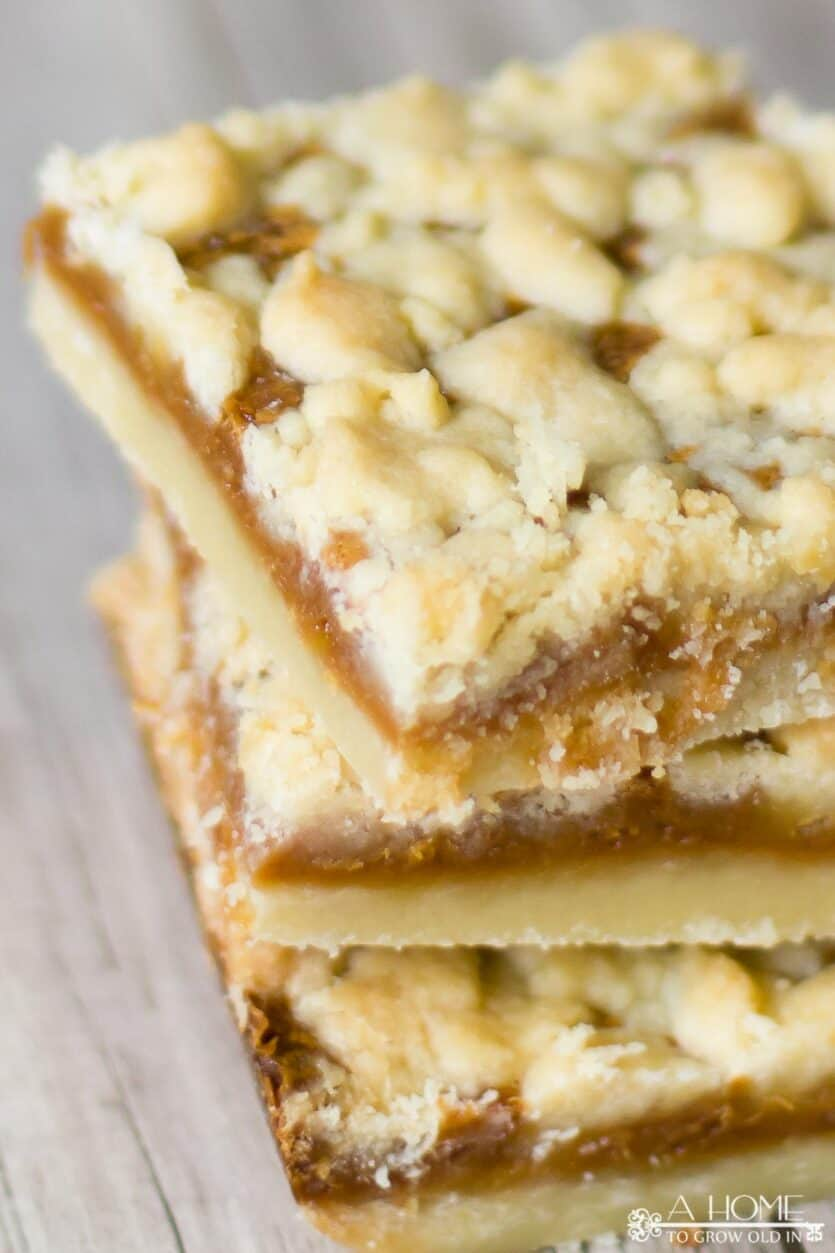 close up of three salted caramel butter bars