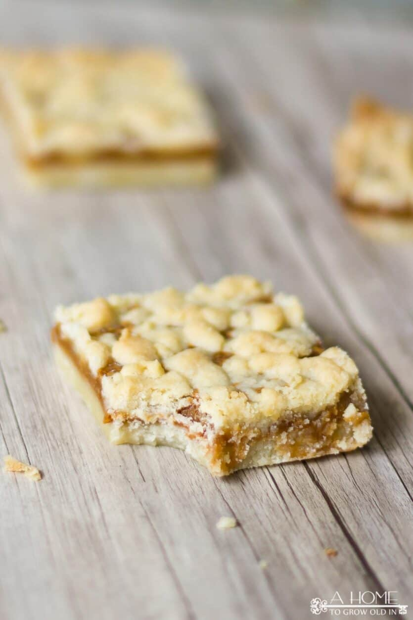 salted caramel butter bar with bite taken out of it