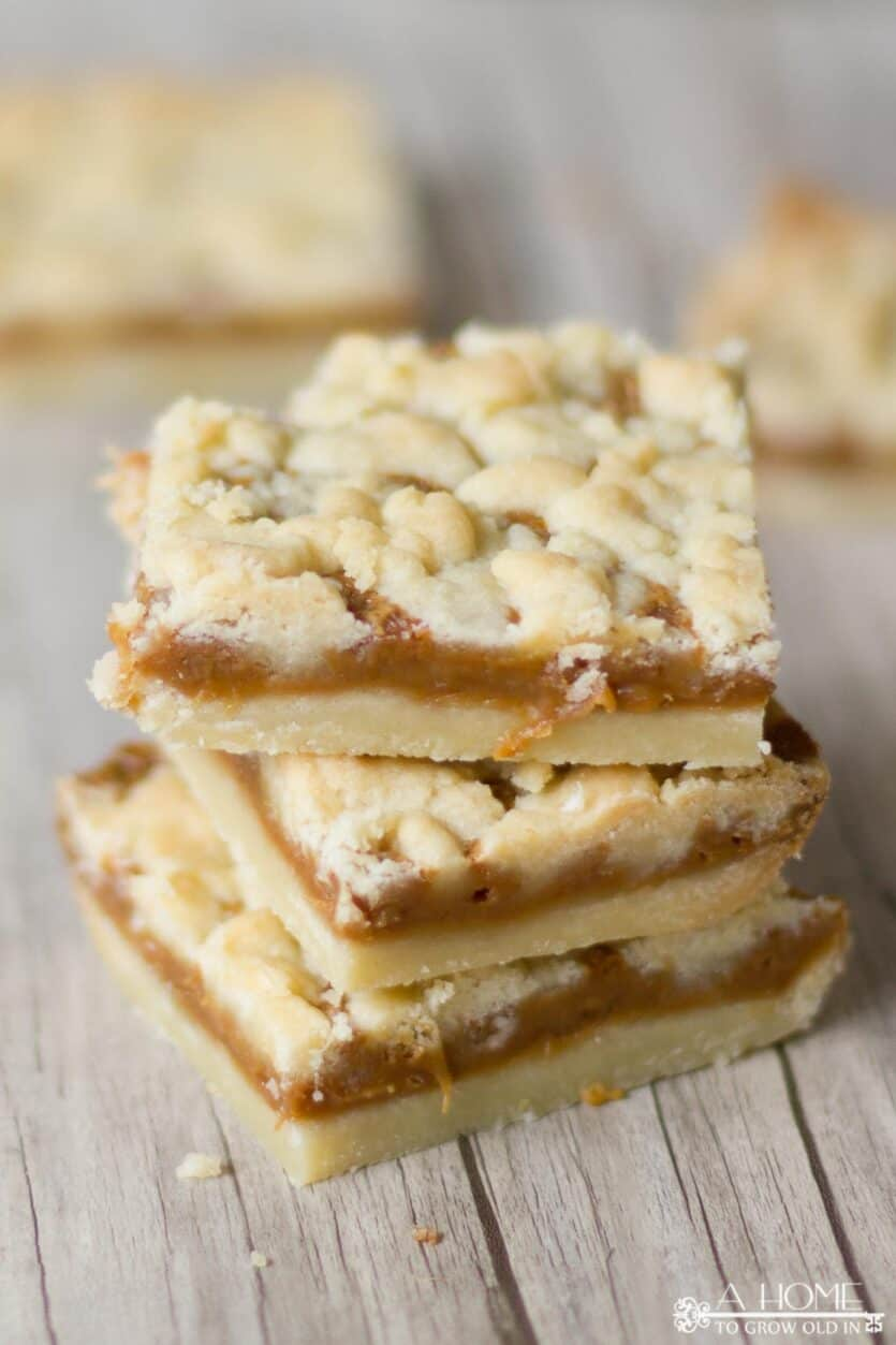 three salted caramel bars stacked up