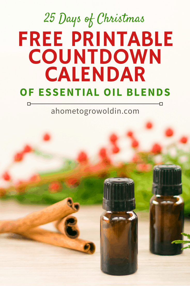 Christmas essential oil blends with countdown calendar printable