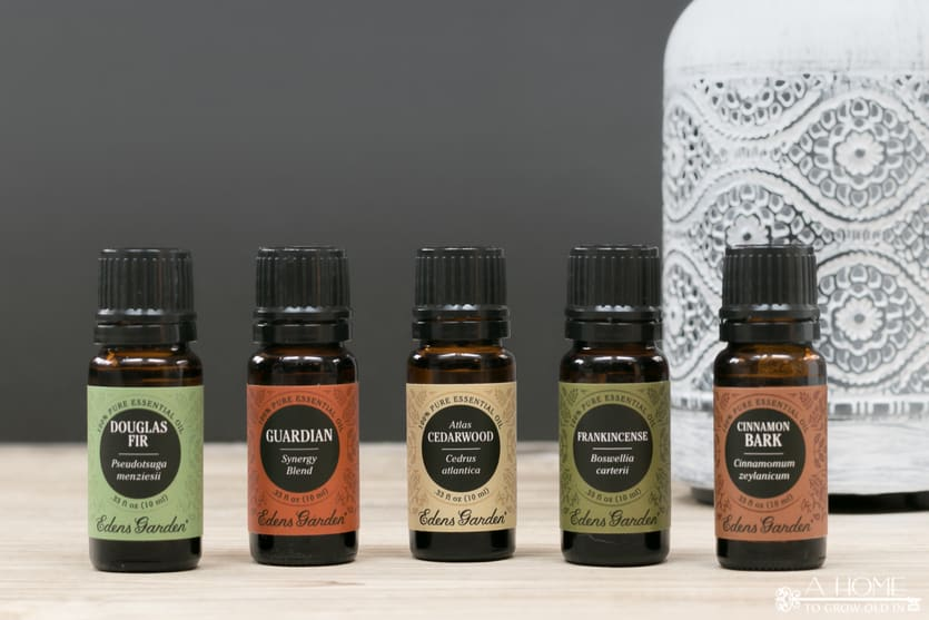 essential oil bottles in front of an oil diffuser