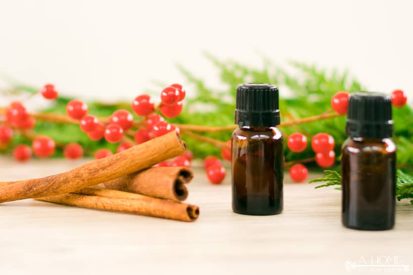 Christmas essential oil blends with cinnamon sticks