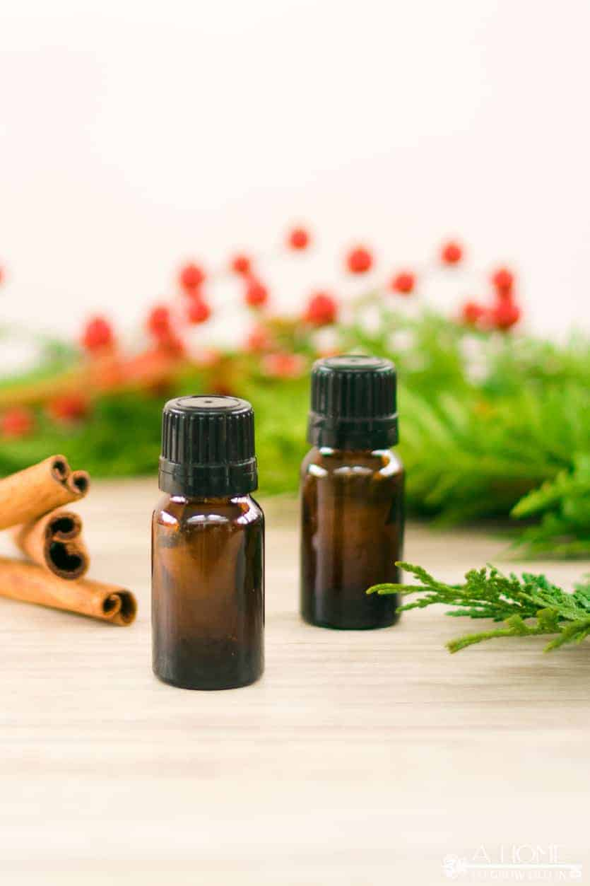 Christmas essential oil blends with berries and cinnamon