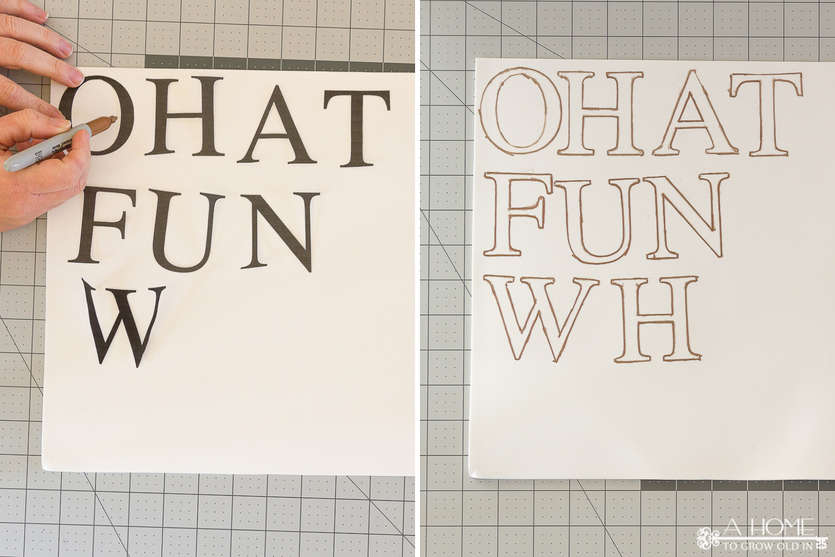 cutting out letters for DIY Christmas decoration