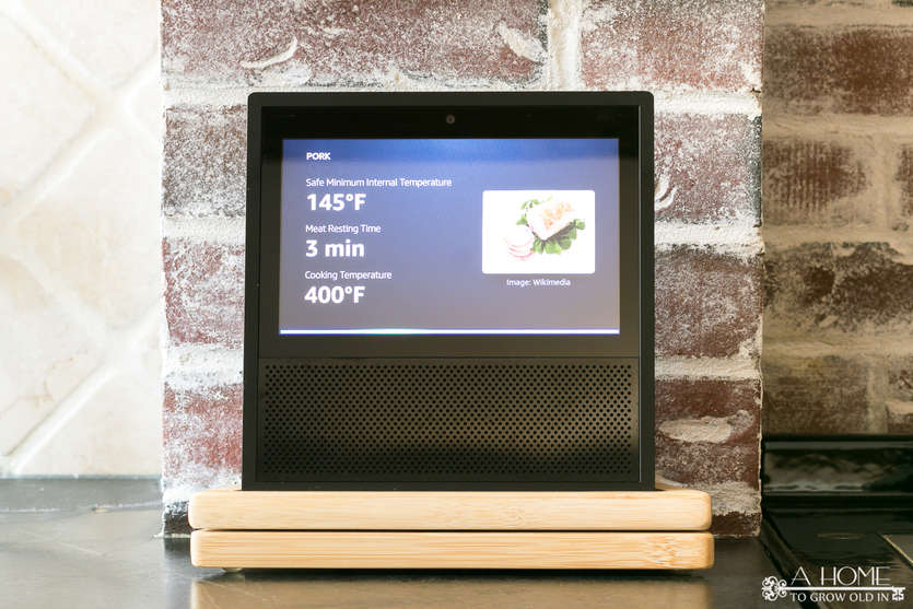 echo show with cooked meat temperature on the screen