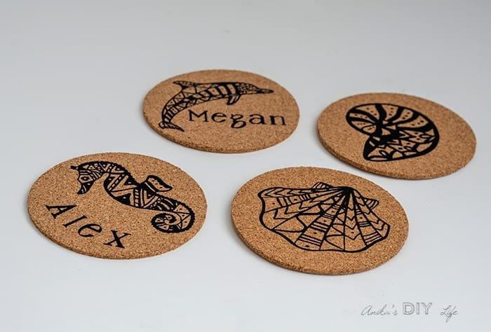 Cricut personalized cork coasters