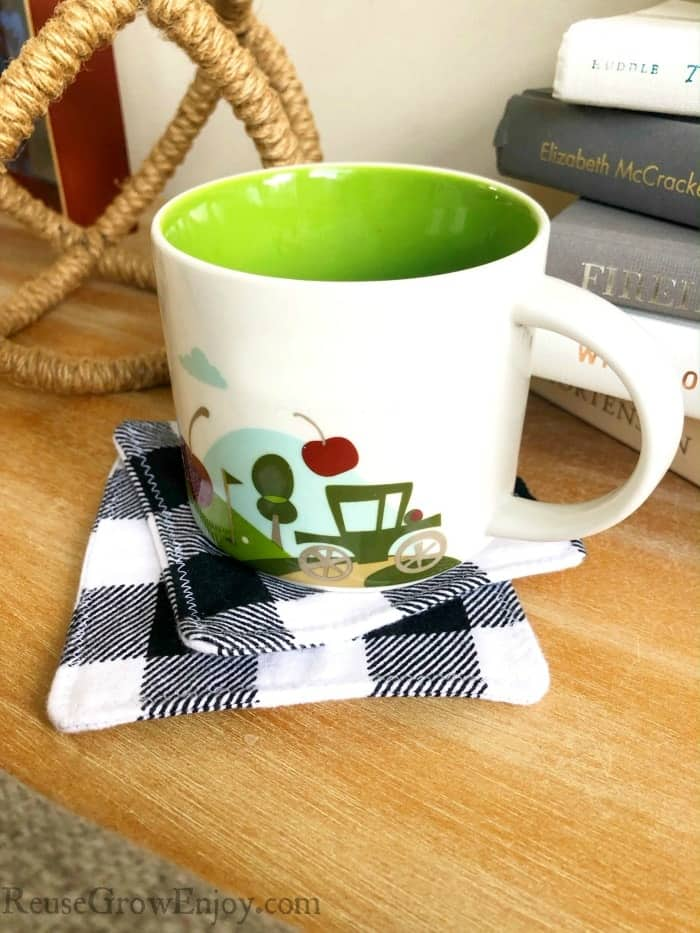 easy homemade buffalo plaid flannel coasters