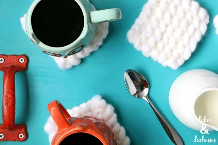 hand knit coasters