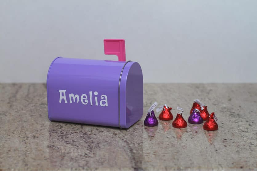 Valentine's Day mailbox with candy