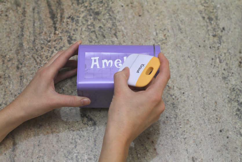 applying recipient's name to Valentine's Day mailbox