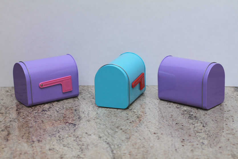One Valentine's Day mailbox for each of three recipients