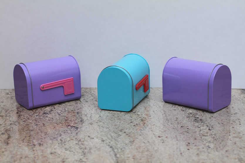 One Valentine's Day mailbox for each of three recipients