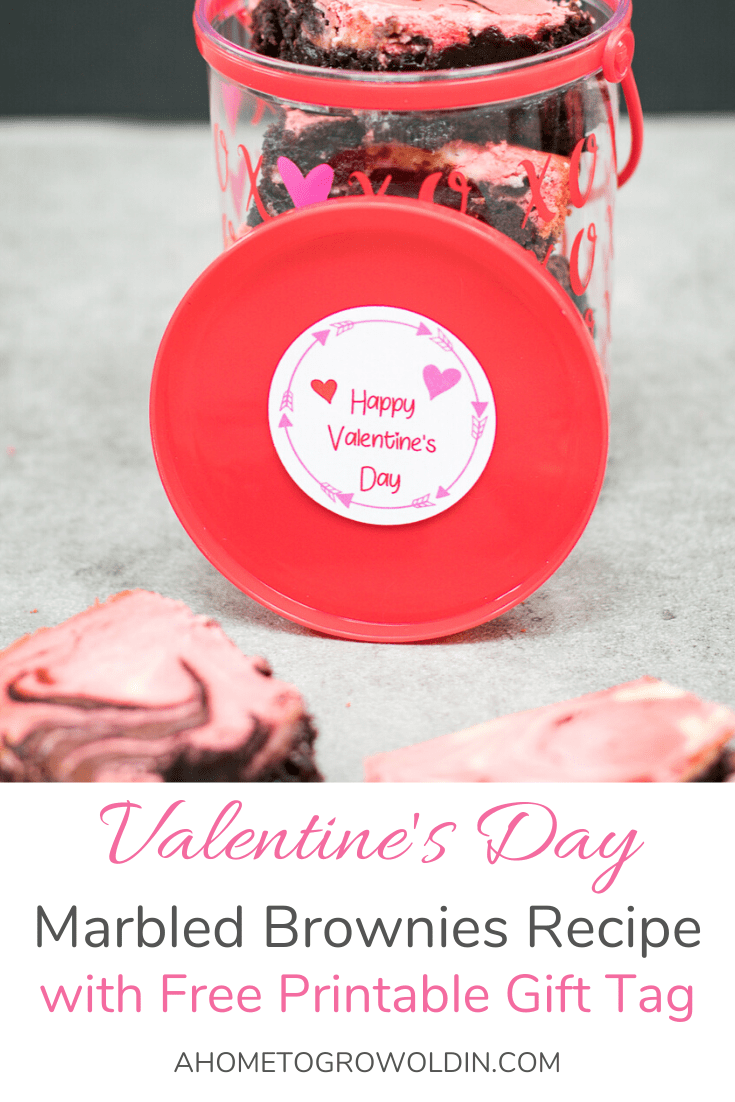 Valentine's Day container with marbled brownies in it.