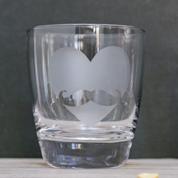 DIY Etched Glass Whiskey Tumbler