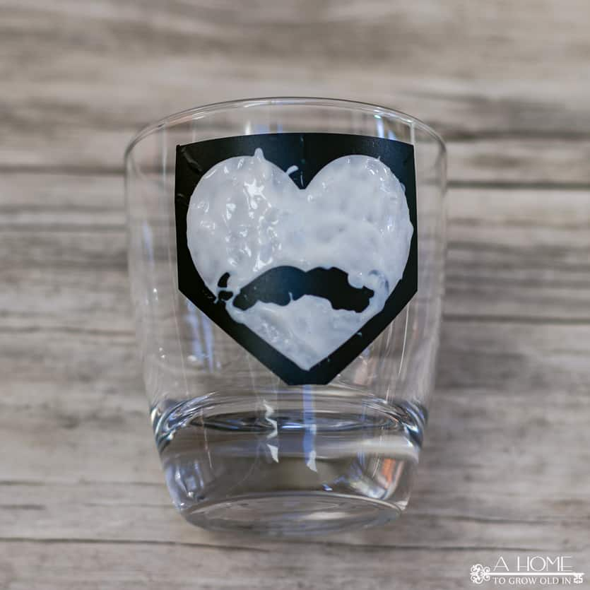 whiskey tumbler with etching cream on it