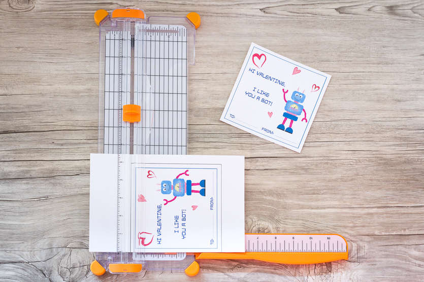 robot valentines card on a paper cutter