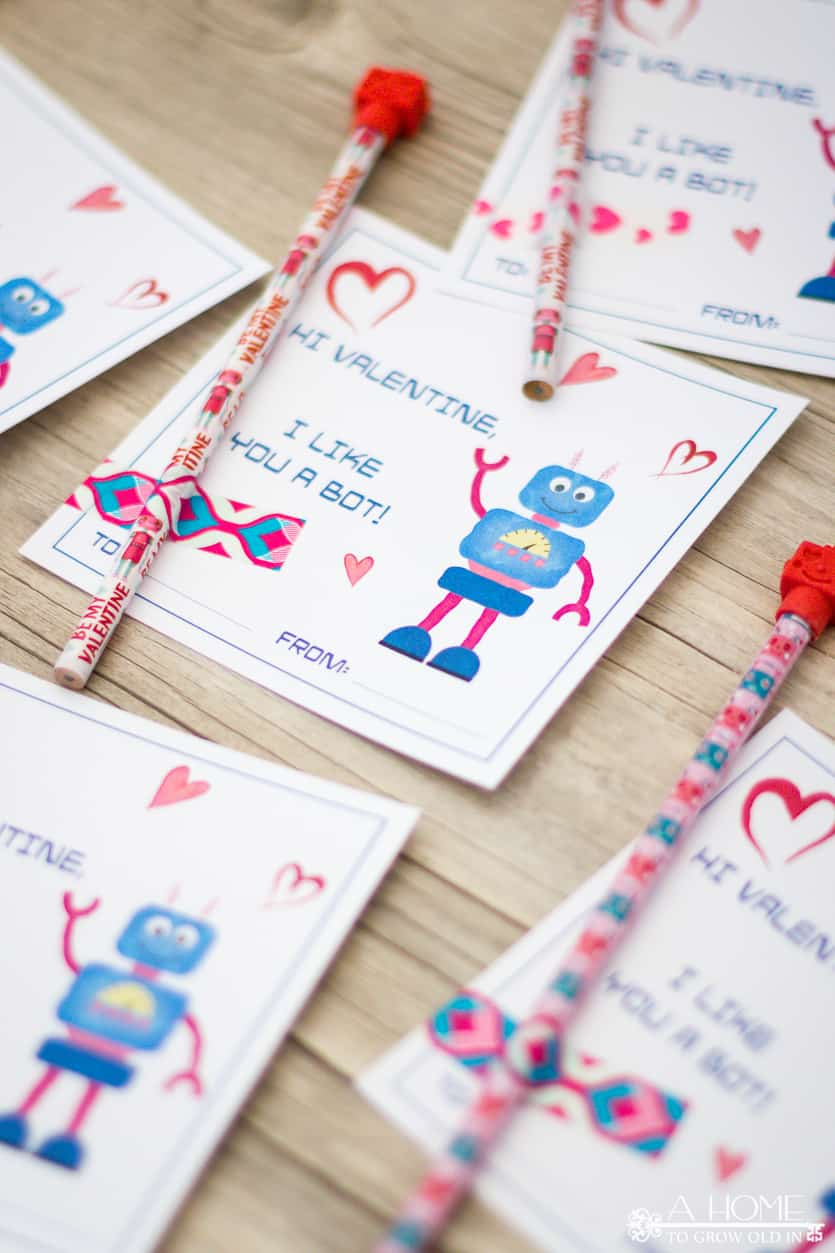 robot valentines cards on a wooden background