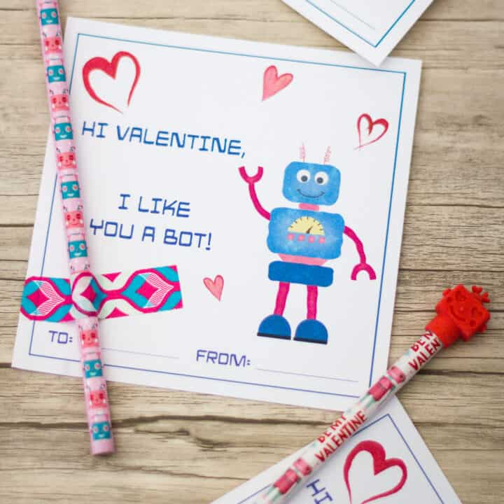 Printable Robot Valentines Day Cards to Give With Pencils