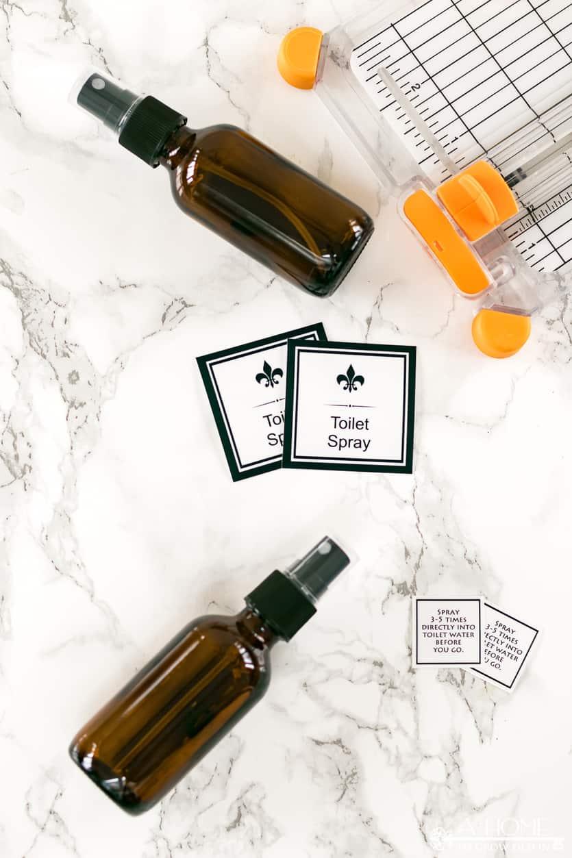 diy toilet spray bottle labels, free printable