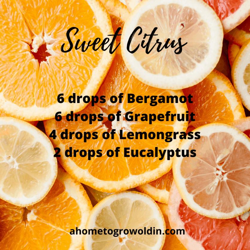 essential oils bergamot, grapefruit, lemongrass, eucalyptus