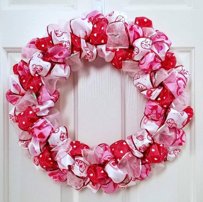 Valentine's Day Ribbon Loop Wreath - Simple DIY Wreath Craft