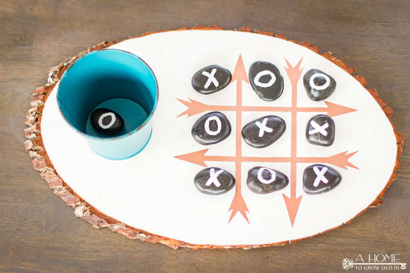 completed DIY outdoor tic tac toe board game