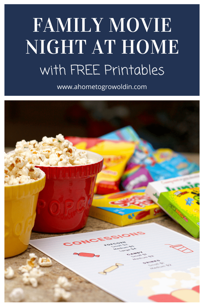 family movie night at home with free printables