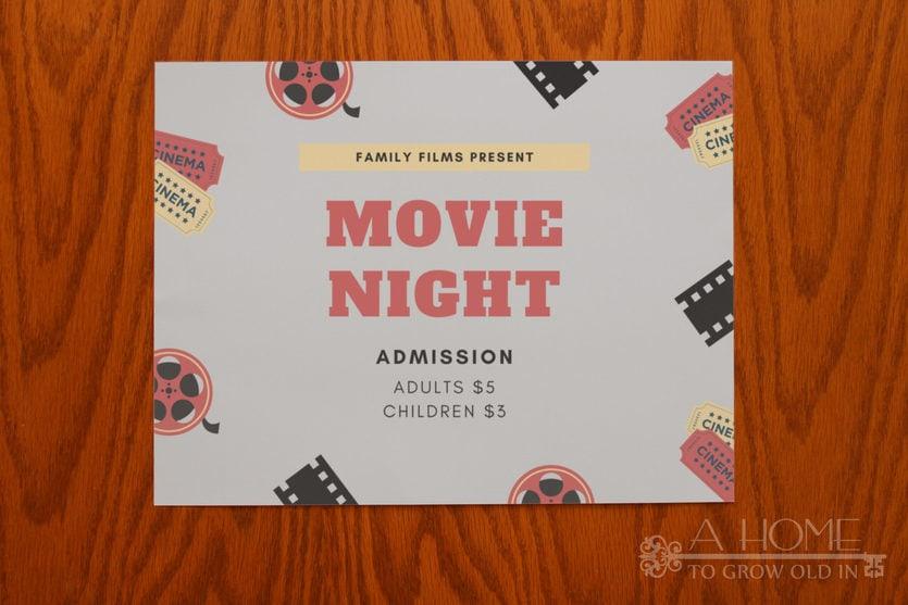 movie night sign