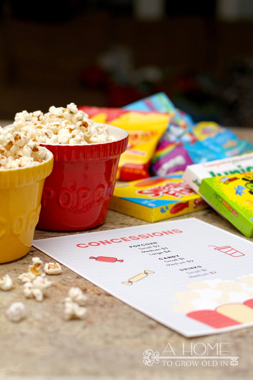 popcorn and candy for family movie night