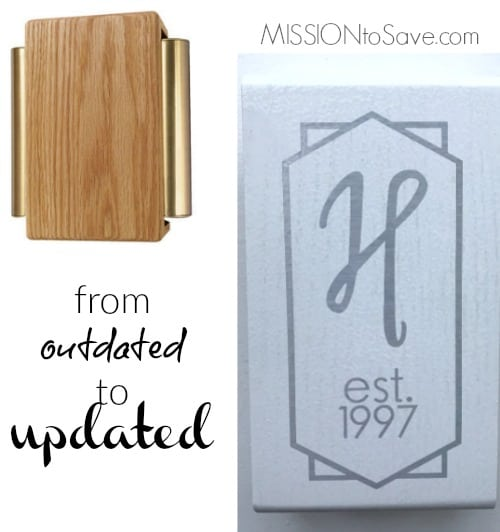 Updated Wooden Doorbell Cover with Vinyl Monogram {Thanks to Cricut Explore Air}