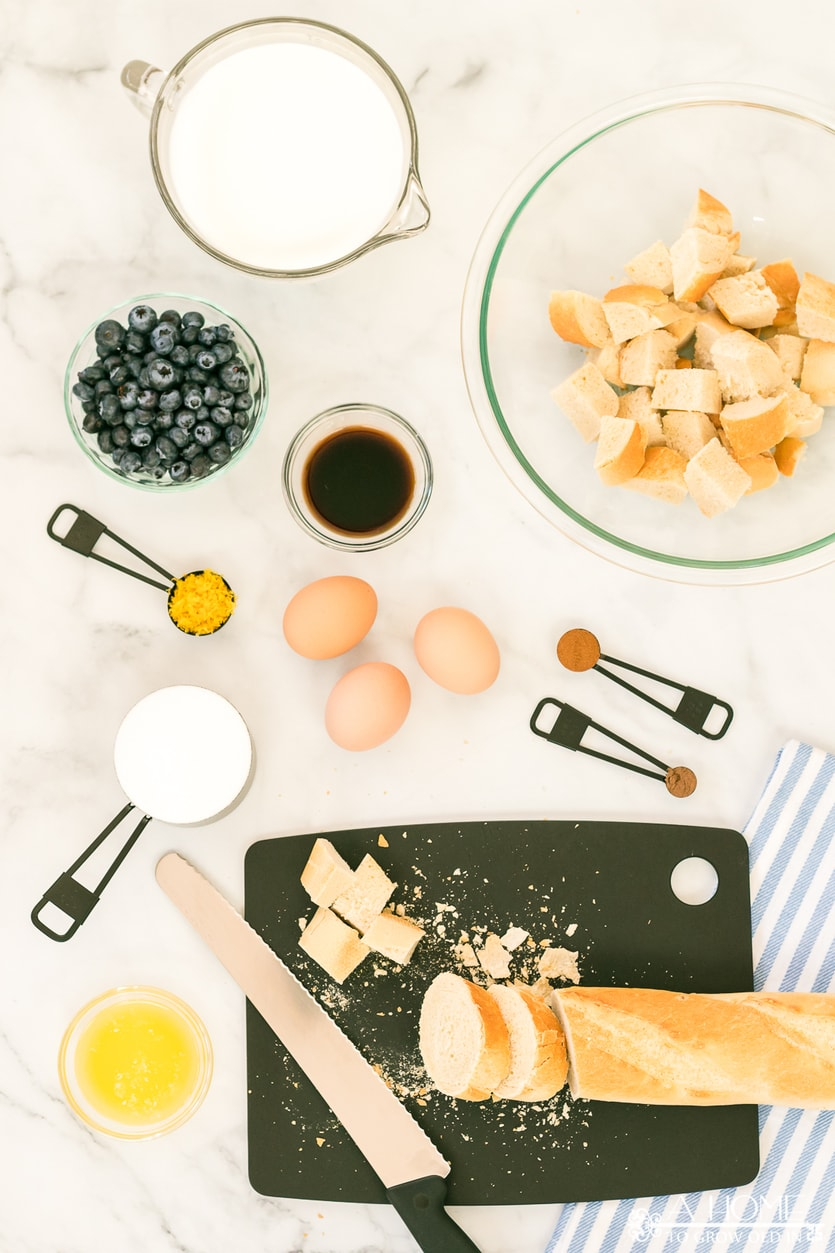 ingredients for lemon blueberry bread pudding