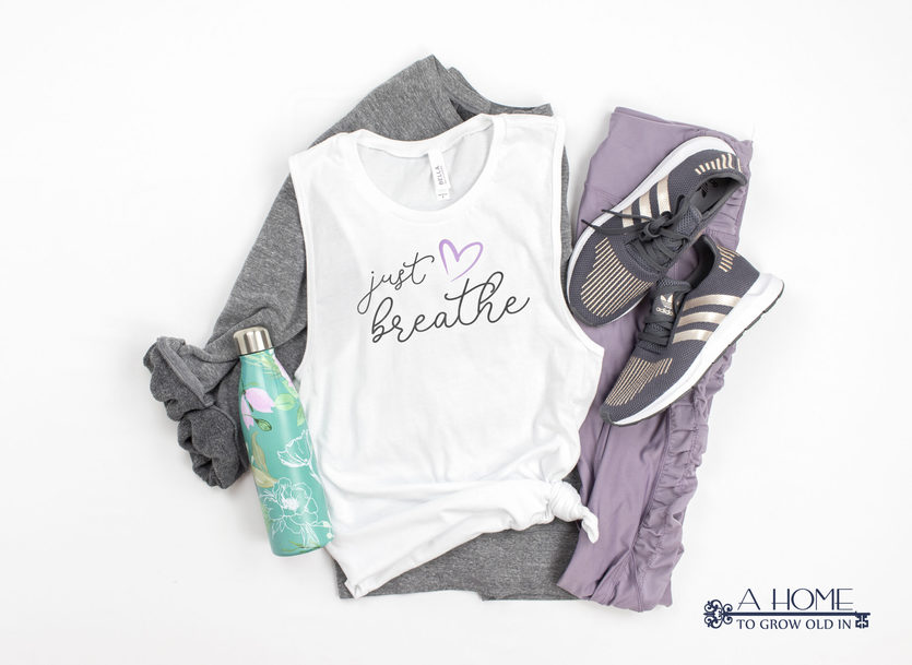 yoga outfit with Just Breathe design on it