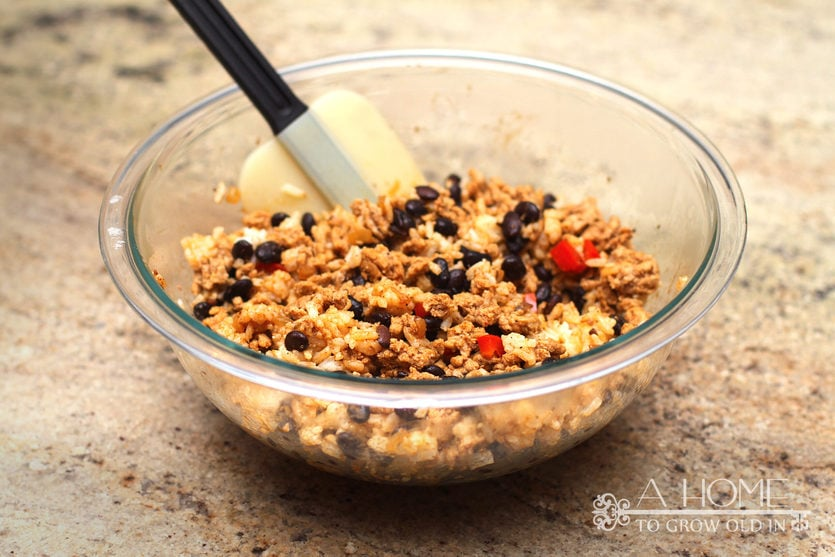 mix ground turkey, rice, and beans together