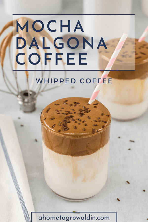 mocha dalgona whipped coffee recipe with chocolate sprinkles and a straw