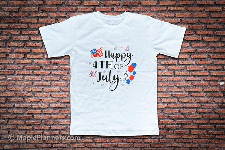 A white t-shirt that says Happy 4th of July on it
