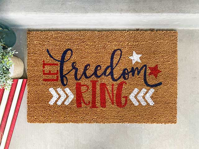 A DIY Doormat that says Let Freedom Ring
