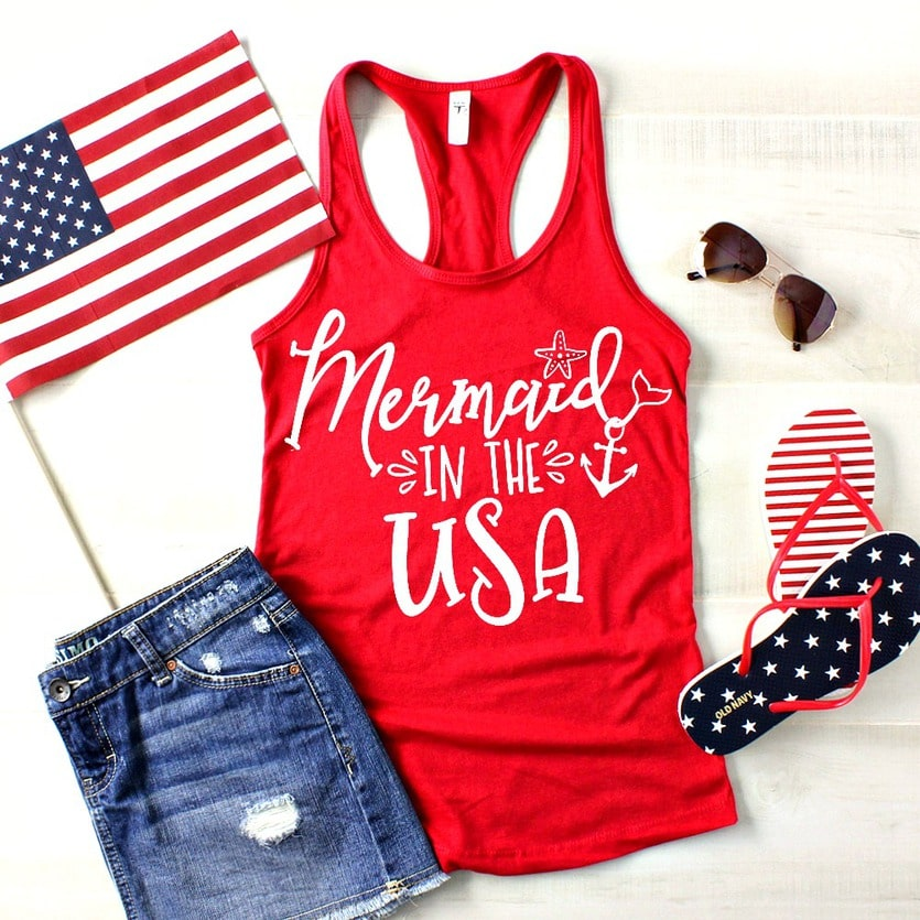 "Red tank top that says ""Mermaid in the USA"""