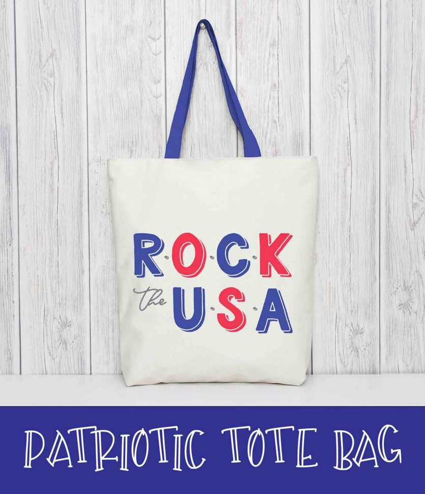 "A patriotic tote bag that says ""Rock the USA"""