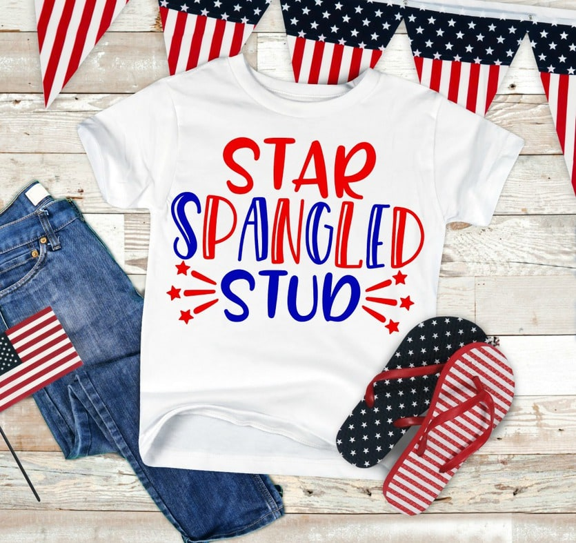 "A t-shirt that says ""Start Spangled Stud"""