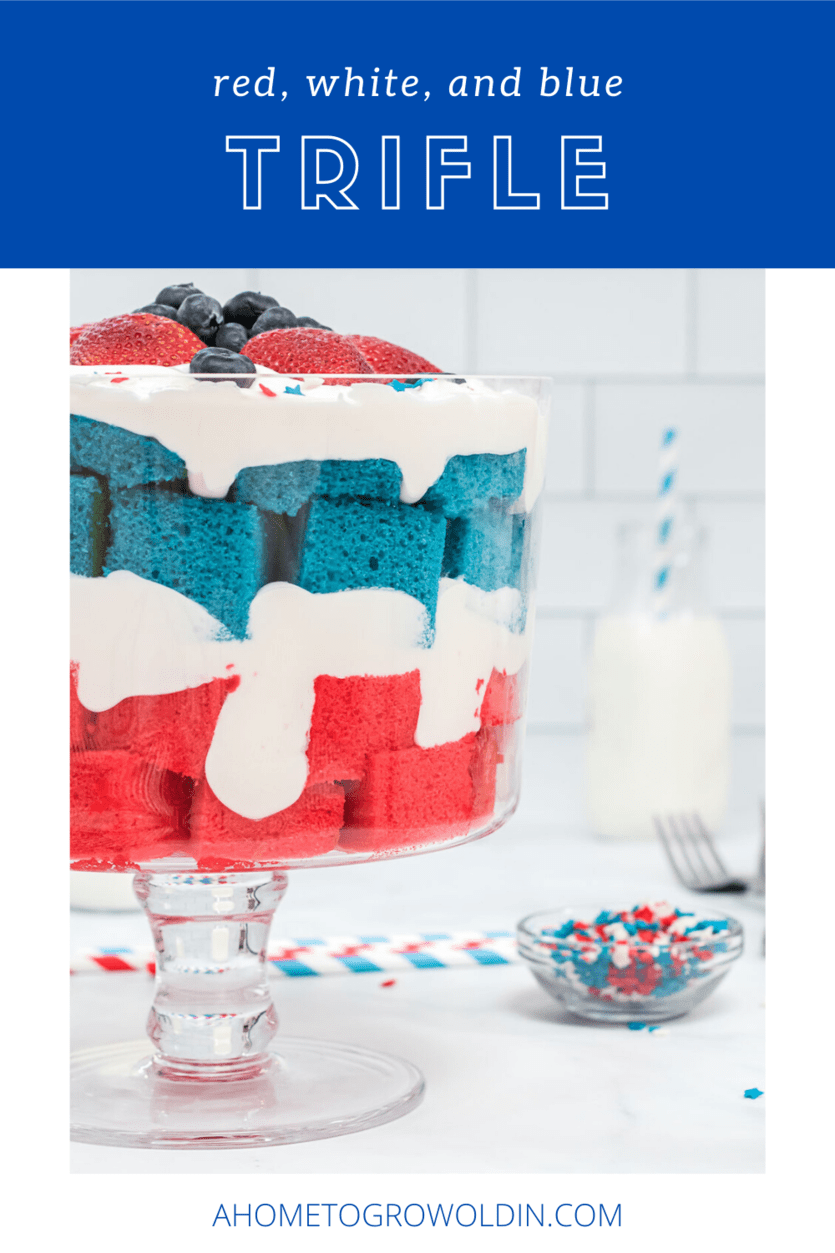 This patriotic trifle dish is such an easy dessert for a crowd, but looks like you spent all day making it! It's perfect for your next 4th of July or Memorial Day party, BBQ cookout, or any red, white, and blue affair over the summer.