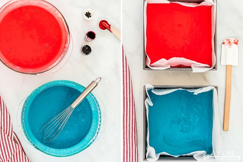 red and blue cake batter to make a red white and blue trifle summer dessert