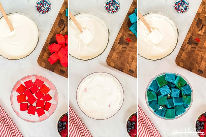 steps showing how to layer a red white and blue trifle dessert