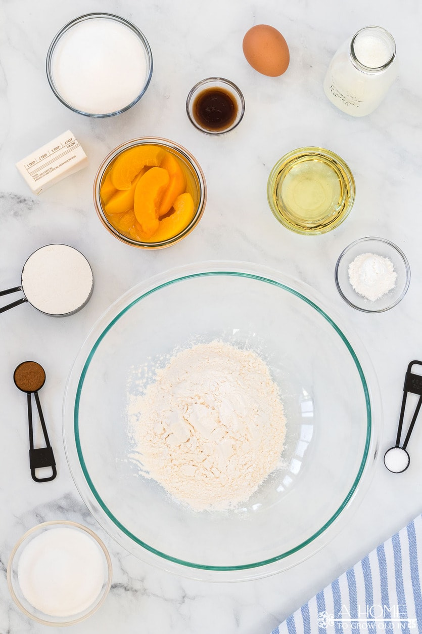ingredients for peach cobbler muffins