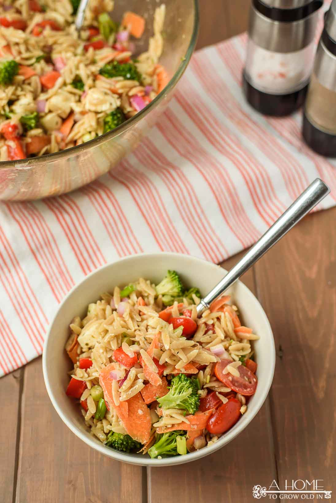 orzo pasta salad with lots of vegetables