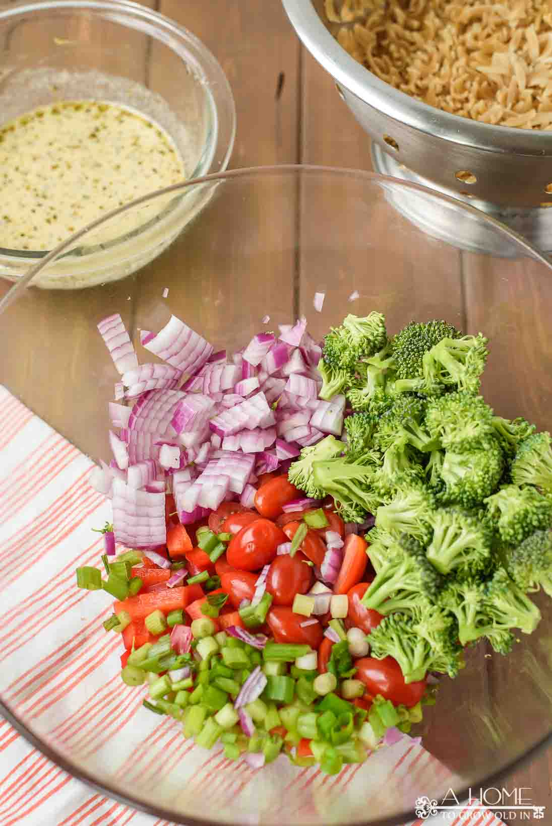 cut up vegetables for the pasta salad