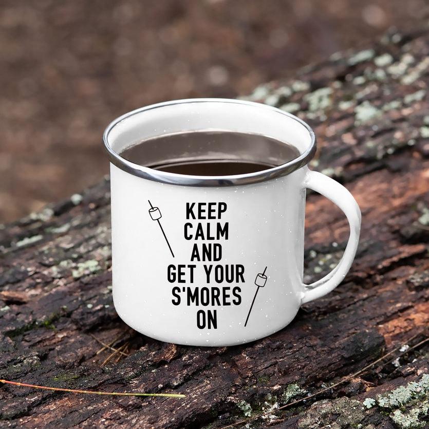 camping svg design on a mug